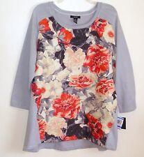 Alfani NEW Ladies Top Gray Poppy Floral Loose Fit Hi Low Hem Stretch Small S