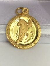 24K Solid Yellow Gold Horse Animal Sign Round Charm/ Pendant, 3.60 Grams