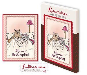 Glückwunschkarte kleiner Betthupferl mit 70gr Vollmilchschokolade Kunstgrußkarte