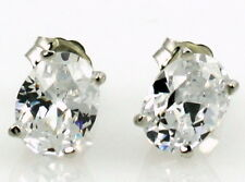 Sterling Silver Post Earrings -Handmade • Se002, Cubic Zirconia, 925