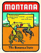 Montana The Bonanza State  MT Map    Vintage 1950's Style  Travel Decal Sticker