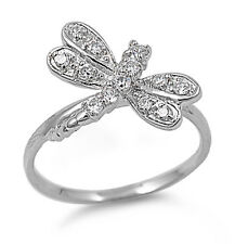 Zirconia Ring Size 4 to 11 .925 Sterling Silver Dragonfly Fashion Clear Cubic