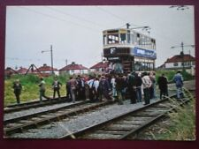 POSTCARD RENOVATED TRAMCAR WITH ENTHUSIASTS ON CLEVELEYS TRACK NEAR BLACKPOOL