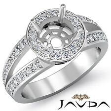 Round Semi Mount Split Shank 0.55Ct Diamond Engagement Halo Pave Ring Platinum