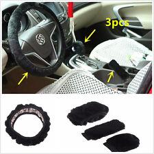 Black 3PCS Winter Soft Plush Steering Wheel + HandBrake + Gear Shift Cover Set