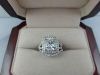 4.00 CARAT D SI1 CUSHION DIAMOND 14 KARAT WHITE GOLD RING WITH MATCHING BANDS
