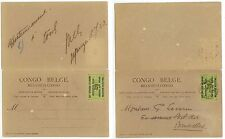 1923 Belgian Congo Belge HG 9 message-reply postal card used to Belgium - cover