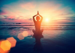 A4  Sunset Yoga Poster Print Size A4 Beach Pilates Fitness Poster Gift #14531
