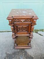 Outstanding Antique 1800s Marble Top Commode Night Stand End Table