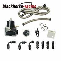 Black Adjustable Fuel Pressure Regulator Gauge Kit & AN 6 Fitting End Universal