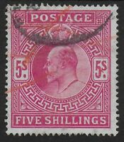 SG263  5s.Bright Carmine. VFU and Clean Back. Red Postal Crayon Marks.  Ref.0845
