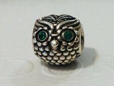 Authentic Pandora Wise Owl Dark Green CZ Eyes Charm 791211 Retired