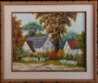Antique New England Landscape by Raymond Everett, Original Oil Painting, Framed