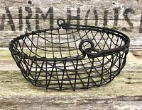Primitive Black Metal Wire-Mesh Egg / Vegetable Basket With Handle