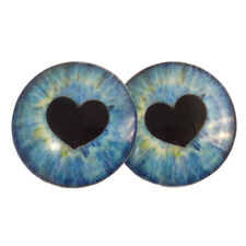 Pair of 40mm Blue Heart Glass Doll Eyes Cabochons Set - Jewelry, Art, Taxidermy