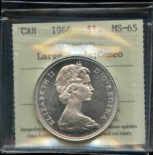 1966 Canada Silver Dollar - ICCS MS-65. Large Beads, Cameo - XMH198