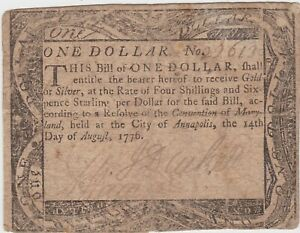 1776  MARYLAND $1 One Dollar  August 14, Annapolis Colonial Currency Note  F+