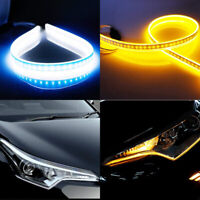 2X 30/45/60cm Car Flexible Switchback DRL LED Strip Tube Lights Sequential Lamp