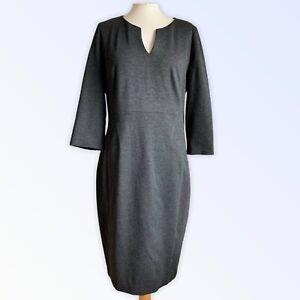 LAURA ASHLEY UK 14 Dress Dark Grey Shift Panelled Midi 3/4 Sleeve Smart Occasion