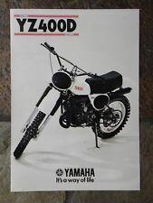 Yamaha YZ400D  Sales Brochure,  1977 Original NOS