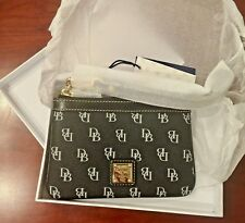 Dooney & Bourke Black Signature Logo Leather Wristlet Wallet - NWT