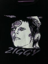ZIGGY David Bowie Glamhead Women Tee Shirt Top Black Purple White Glitter M/L