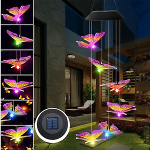Wind Chimes Solar Powered LED Changing Butterfly Light Hanging Garden Outdoor