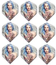Blue Hair Girl Tattoo'd Standard Dart Flights - 100 Micron - 3 sets (9 flights)