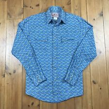 Wrangler American Cowboy Shirt Floral Blue Pearl Snap Button Up UK Size Small