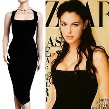 DOLCE GABBANA D&G Vintage 90s Negro & Lana Pushup Bellucci Vestido Talla UK 14 nos 10 46