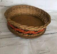 Vintage 50s 60s Wicker woven fruit bowl rattan wood basket Boho bamboo Retro