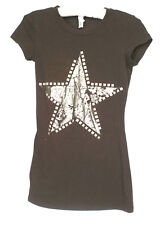 Cleo Youth Girls Brown Tee Star Studded T-Shirt Short Sleeve Top Ch 27 Lg 24