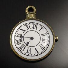 20pcs Vintage Bronze Alloy Round Watch Clock Pendant Charms 20*18*2mm 32079
