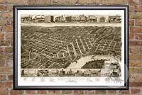 Vintage Montgomery, AL Map 1887 - Historic Alabama Art Old Victorian Industrial