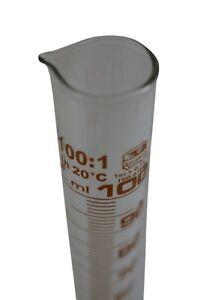 """Hecht"" Messzylinder 100 ml ❀ robustes Duran Laborglas ❀ gut ablesbare Skala"