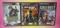 3 Game War Lot PS2 Playstation 2 Call of Duty Splinter Cell Pandora Medal Honor