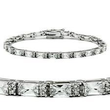 47401  7'' SIMULATED DIAMOND TENNIS BRACELET BEZEL SET 11CTS EMERALD CUTS ROUNDS
