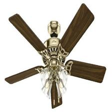 "Hunter 52"" Studio Series Bright Brass Ceiling Fan with Light Kit and Pull Chain"
