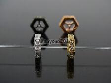 Clear Zircon Gemstones Pave Hexagonal Sliced Bracelet Connector Charm Beads