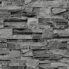 Muriva Large Slate Wallpaper Charcoal Grey J274-09 Stone Brick Decor