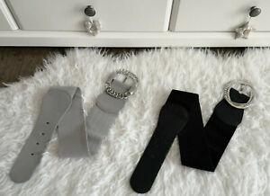H&M ❤ Statement Gürtel S/M grau schwarz breiter Taillengürtel große Schnalle HM