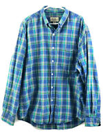 Vintage Eddie Bauer Button Down Shirt Mens XL Blue Plaid Long Sleeve Cotton Euc