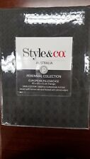 Style & Co 100 % Cotton Jacquard Waffle European Pillow Case Charcoal