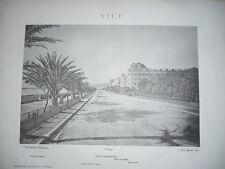 GRANDE GRAVURE ANCIENNE 1884 NICE PROMENADE DES ANGLAIS