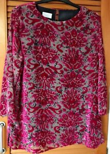 COTSWOLD COLLECTION A LOVELY FUCHSIA PINK DEVORE TOP / 3/4 SLEEVES-LINED- UK 14