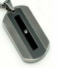 "Brushed & Polished Stainless Dog Tag with Black Ion Plate Center CZ  22"" Chain"