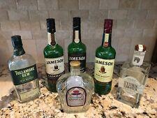 LOT OF 6 Mix  750 ml EMPTY LIQUOR BOTTLES/GLASS WITH CAPS