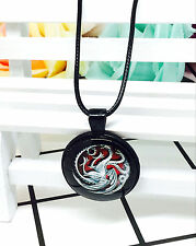 New the targaryen family seal retro Glass Pendant Necklace black Jewelry