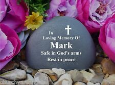 Memorial Pebble (Stone effect) Cross - Personalised - Weatherproof