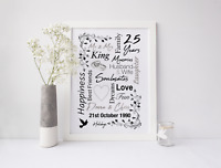 Personalised Anniversary Print / Picture, Wedding Gifts, Giclee Fine Art Paper
